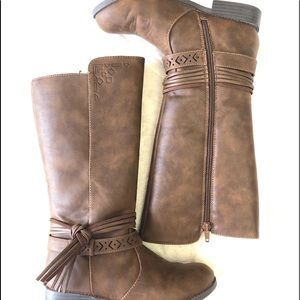 Justice, Side Knot Dark Brown Long Boots Size 2